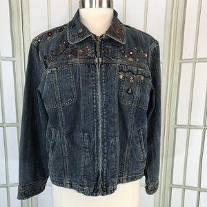Chicos Size 2 Denim Jean Jacket Embellished